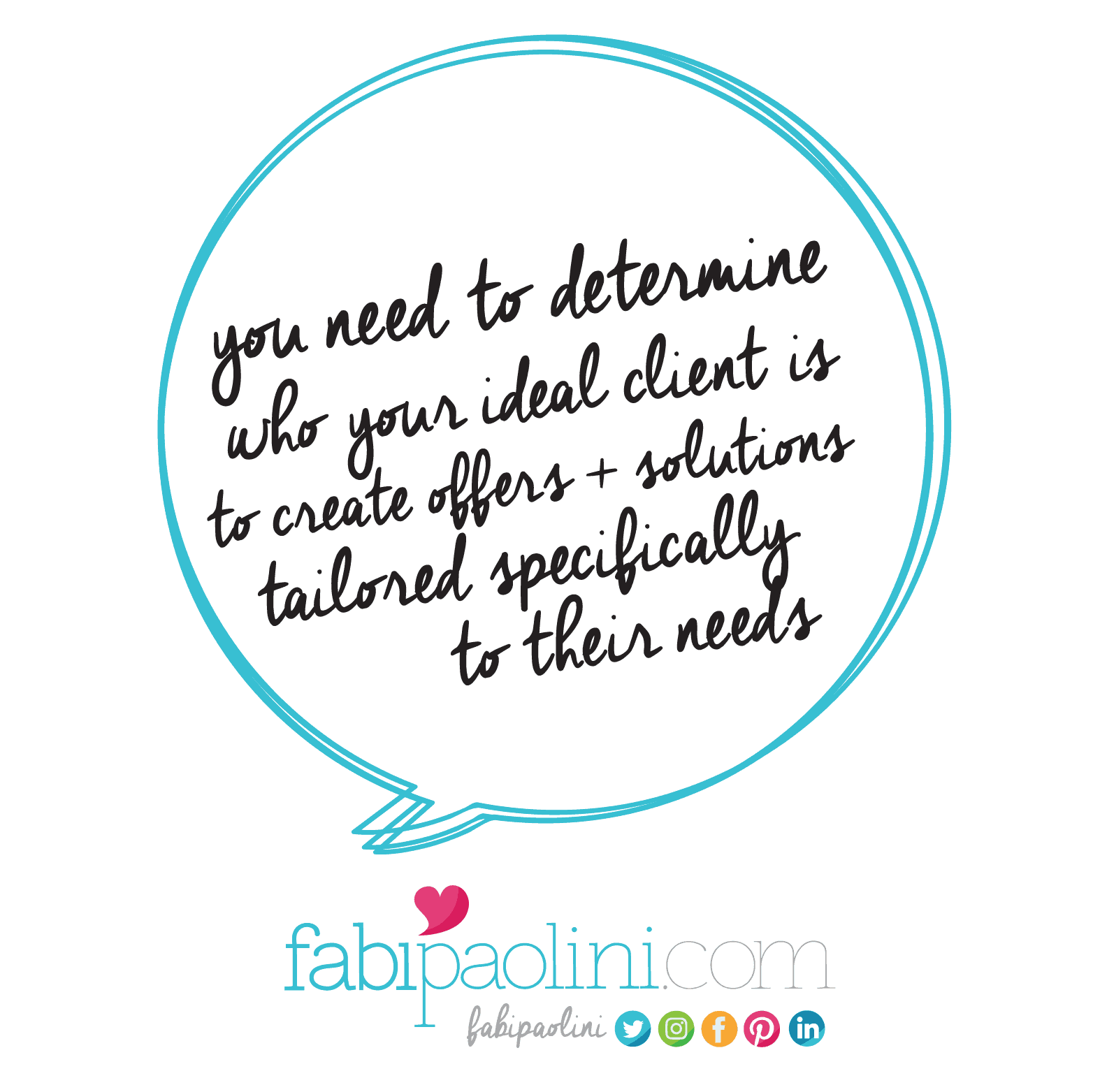 You need to determine who your ideal client is to create offers + solutions tailored specifically to their needs. Fabi Paolini Branding + Design