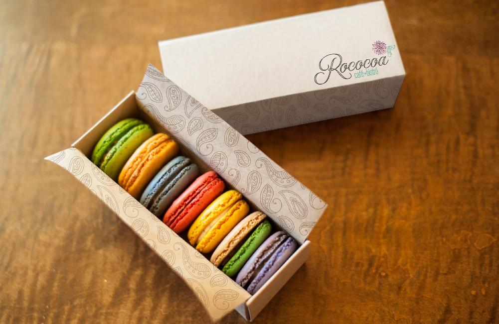 Rococoa Cafe macaroons box graphic design branding