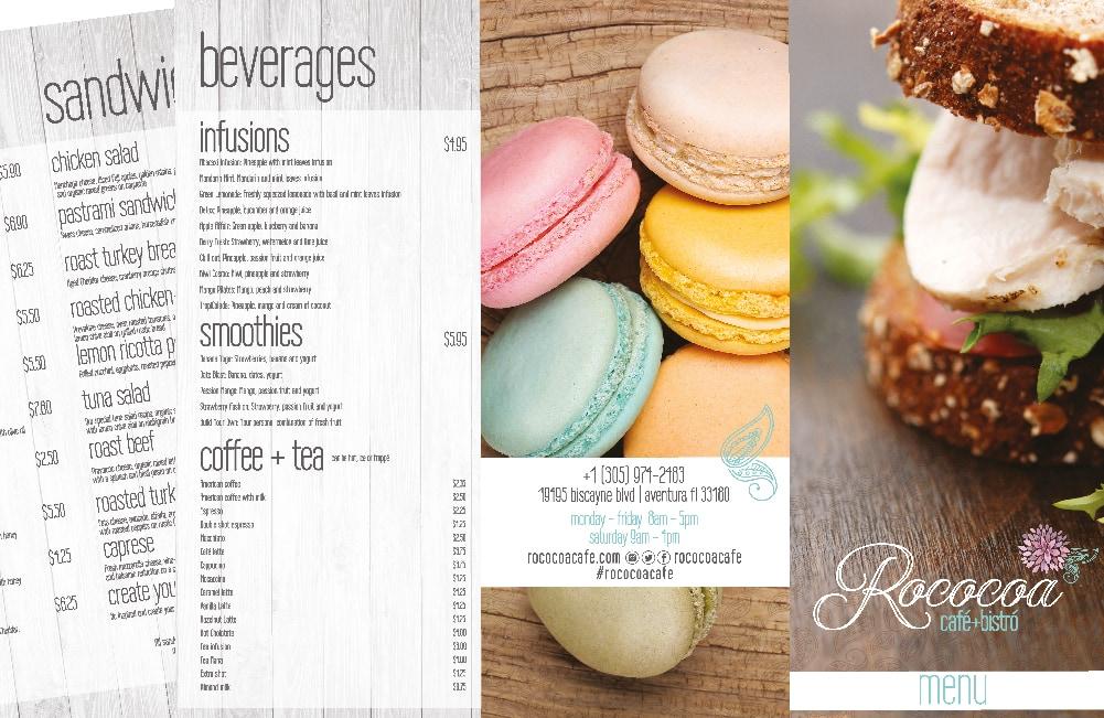 Rococoa Cafe restaurant menu graphic design