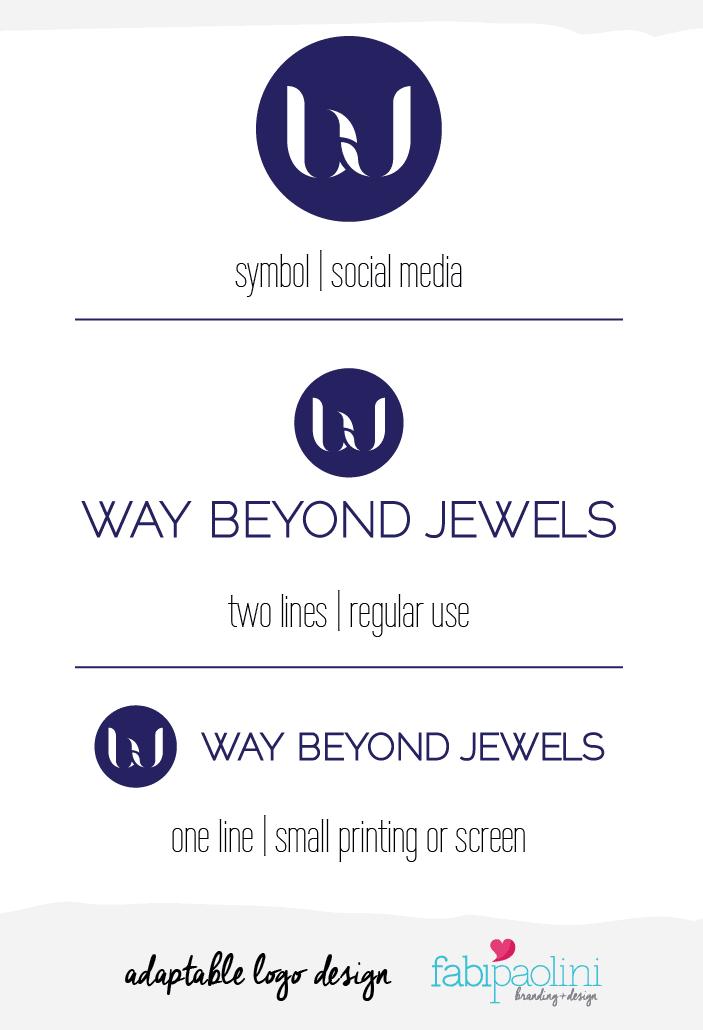 Adaptable logo design Fabi Paolini branding Way Beyond Jewels