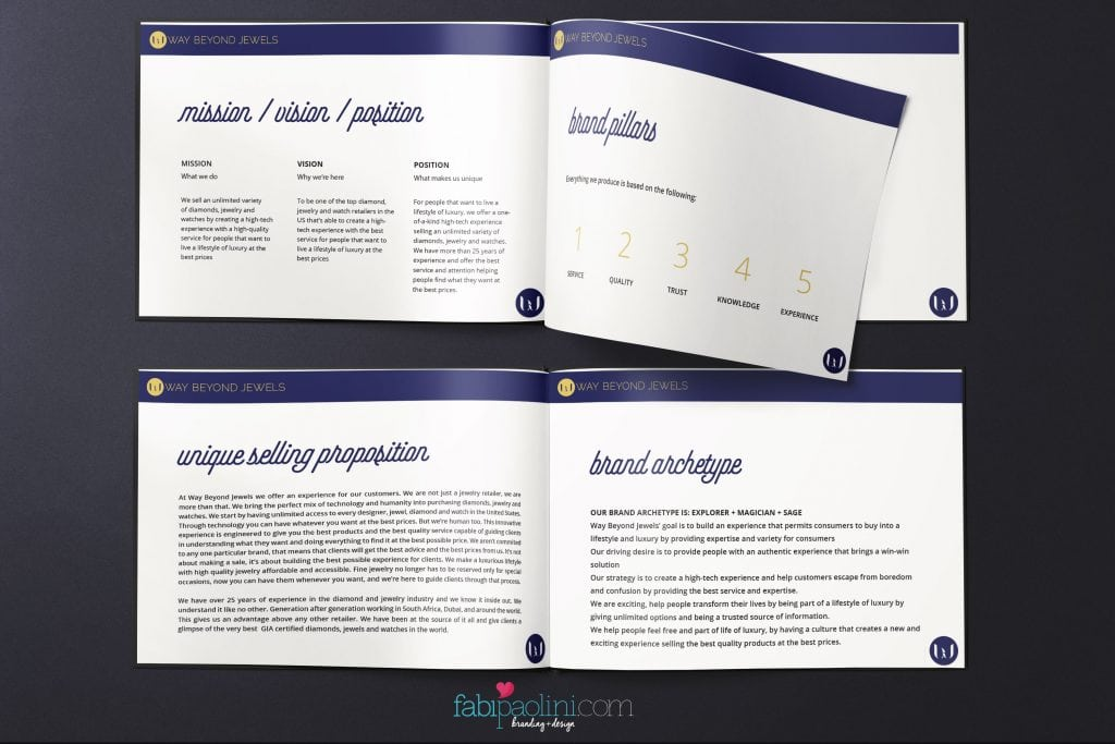 Branding + logo design for Way Beyond Jewels - Jewelry. Identity Design. Brand Brief. Mission Vision Positioning. Brand Archetype Fabi Paolini