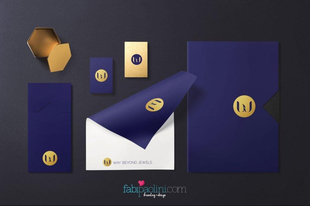 Branding + logo design for Way Beyond Jewels - Jewelry. Identity Design. Fabi Paolini