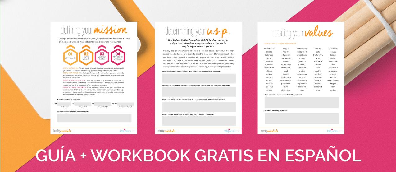 Branding Essentials: Fundamentos de marcas Guía y Worksheet para descargar. Misión Propuesta Unica de Valor Diferenciación Valores Marcas.