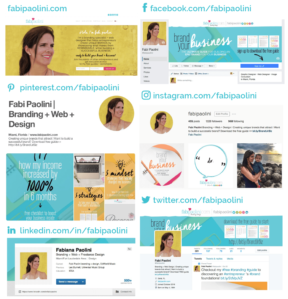 Social Media Profiles. Being consistent in all channels. Facebook, twitter, instagram, linked, pinterest. Branding tips and tricks. Small business advice. Fabi Paolini