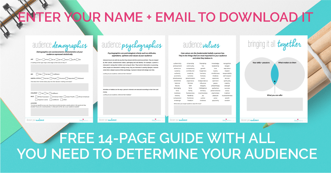 Discover your target audience + ideal client with this epic 14 page free guide. You need to check it out!