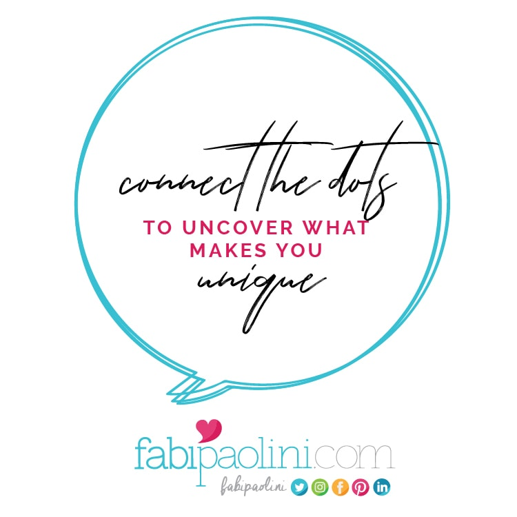 Connect the dots to uncover what makes you unique. Fabi Paolini. brand strategy online business coach